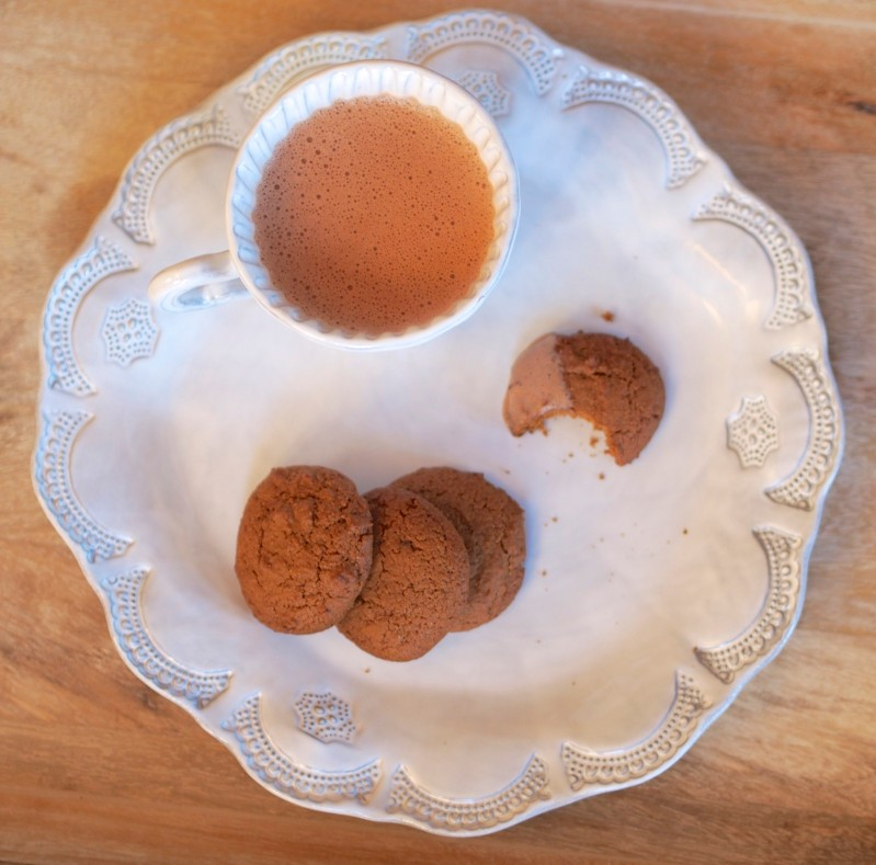 Ginger Molasses Cookies with Hot Chocolate