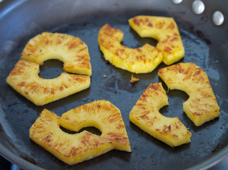Seared Pineapple, Just Sliced in Frying Pan