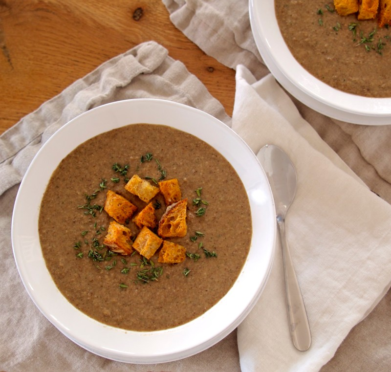 Mushroom & Thyme Soup with Whole Wheat Croutons