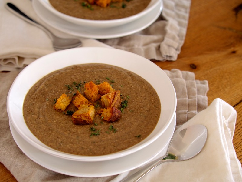 Mushroom Thyme Soup with Whole Wheat Croutons