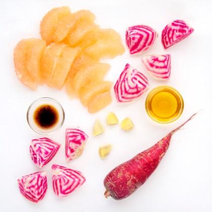 Ingredients for Grapefruit Carrot Beet Shake