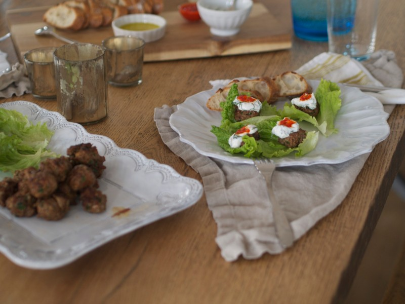 Lamb Meatballs with Lettuce Wraps