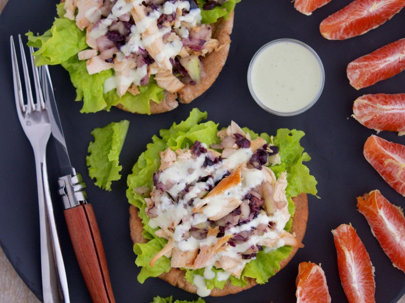 Deconstructed Pita Pocket with Greek Chicken Salad