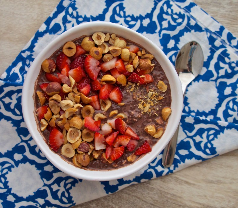 Overnight Chia Pudding with Chocolate & Hazelnuts