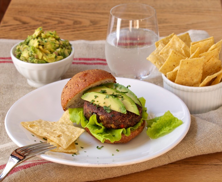 Black Bean Burgers with Traditional Guacamole