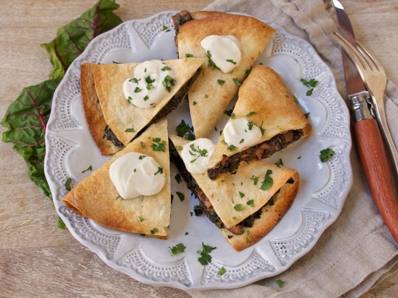 Mushroom & Swiss Chard Quesadillas with Greek Yogurt