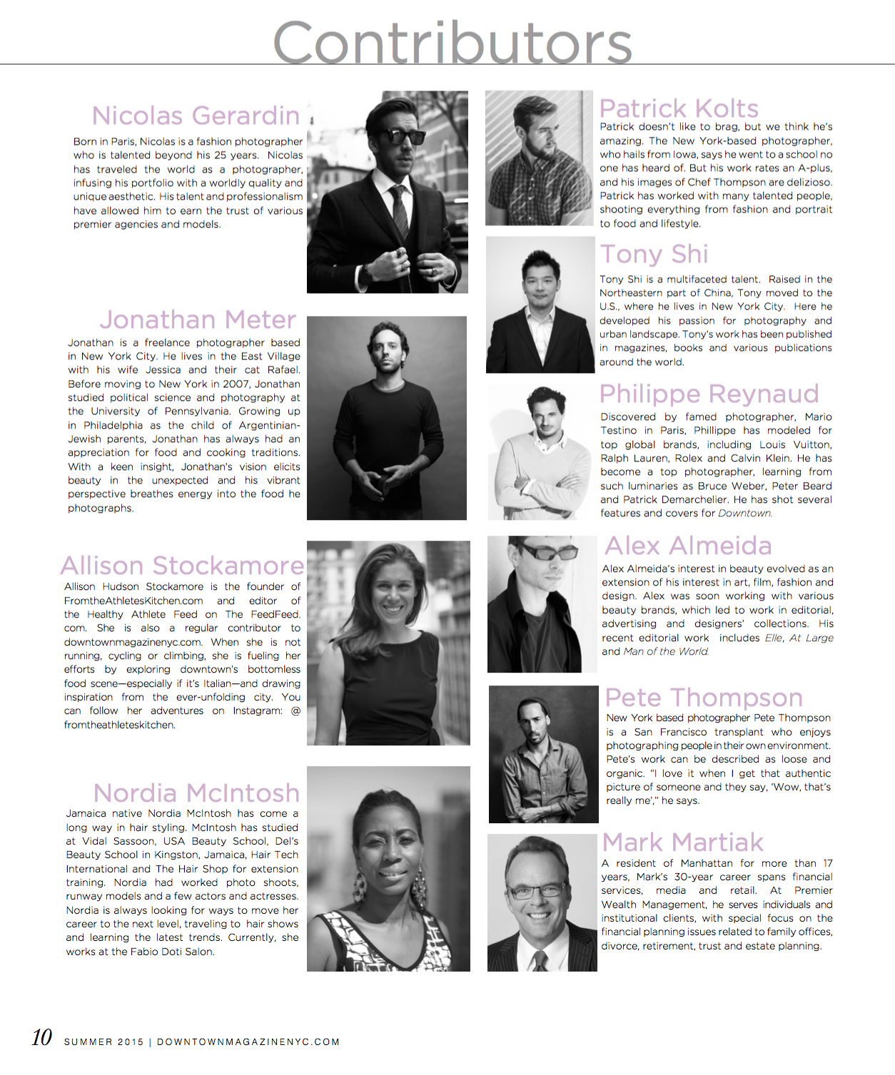 Downtown Magazine Summer 2015 Contributors |