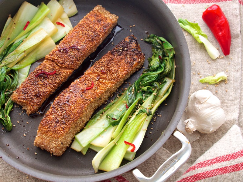 Sesame Salmon with Bok Choy