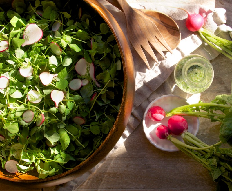 Radish and Greens Salad with Buttermilk Herb Dressing