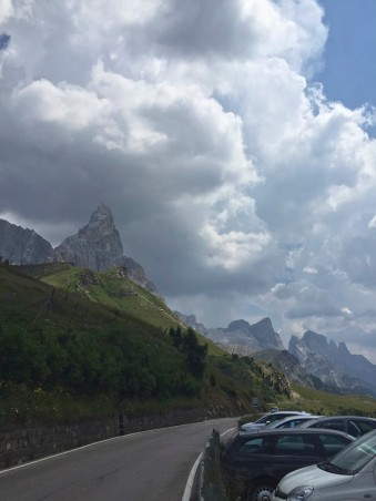 Descent from the Rolle Pass towards the Stage 5 finish in San Martino di Castrozza, Italy, TransAlp 2015