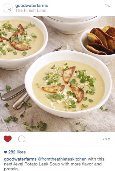 Good Water Farms MicroGreens w. Potato Leek Soup