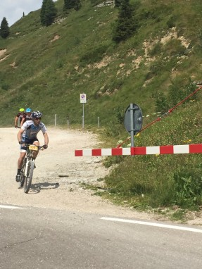 Catching Paul Stockamore at the Rolle Pass, just before the Stage 5 finish, TransAlp 2015