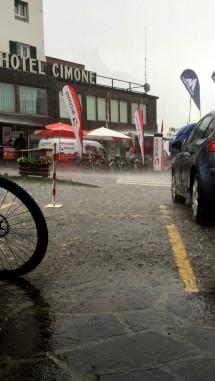 Downpour in San Martino di Castrozza, Stage 5 Finish, TransAlp 2015