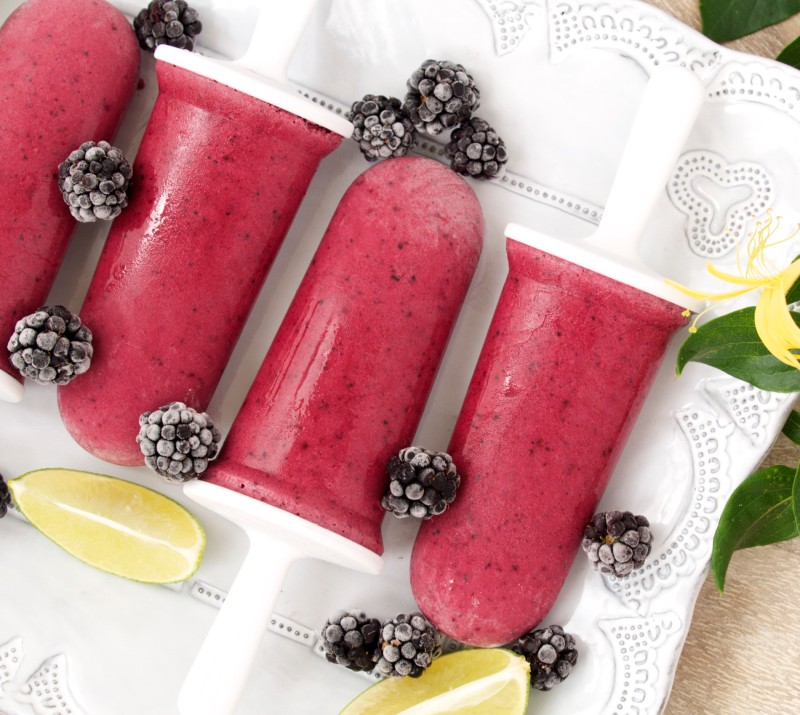Blackberry-Coconut Ice Pops with Lime