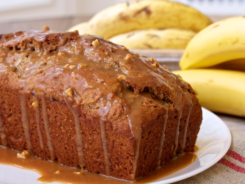 Banana Bread with Peanut Butter Glaze
