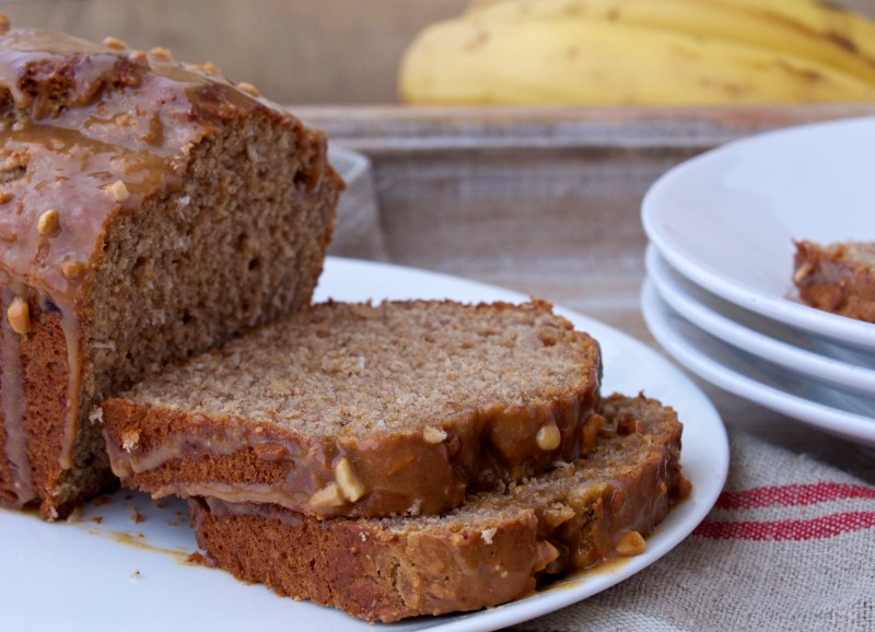 Banana Bread with Peanut Butter Glaze Slices