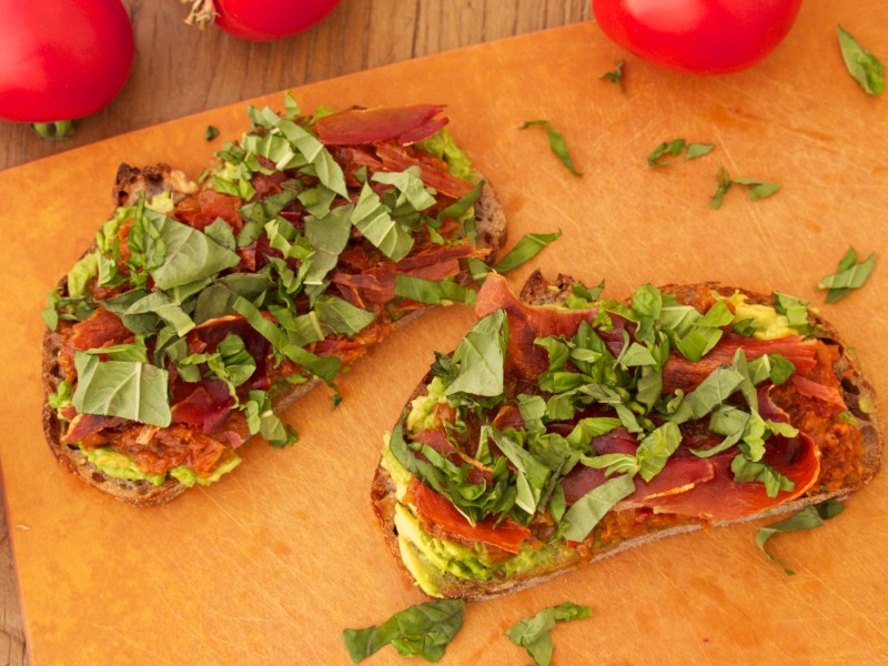 Updated BLT: Avocado, Tomato Jam, Proscuitto & Basil
