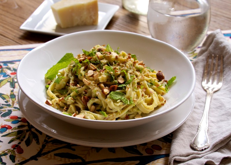Fettuccine with Zucchini & Mint Pesto 9.10.15