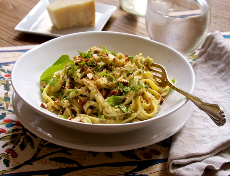 Fettuccine with Zucchini & Pesto
