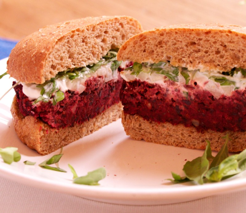 Protein Packed Veggie Burger with Beets, Quinoa and Pecans