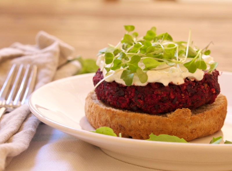Protein Packed Veggie Burger with Micro Greens