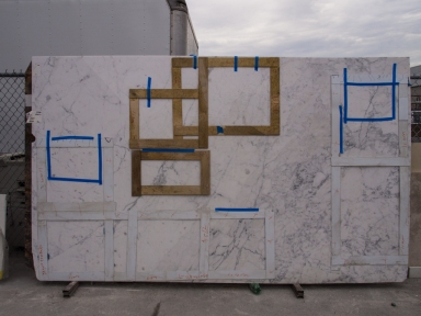 Marble Slab Taped According to Countertop Template