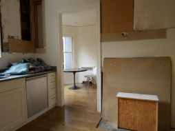 Wide Angle View of Kitchen and Pantry with Range, Hood & Cabinets Removed, Day One