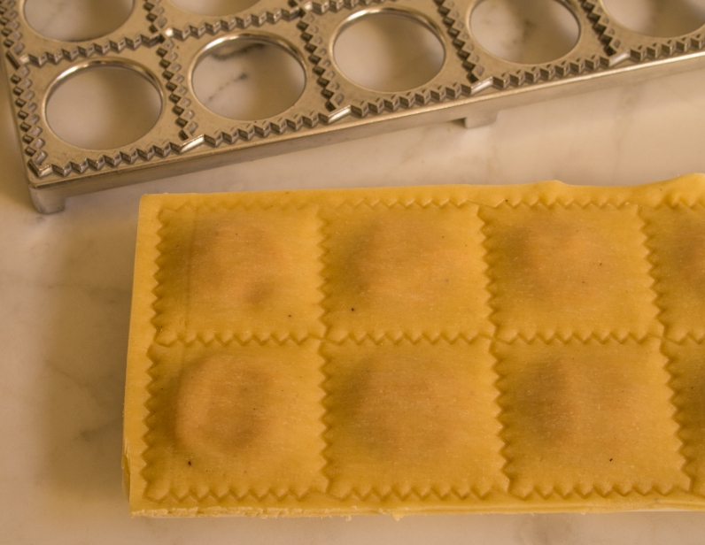 Raviolis ready to be Cut