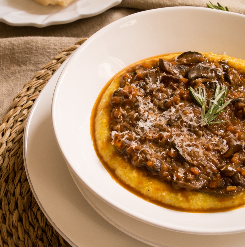 Mushroom Ragu Served with Polenta and Parmesean Cheese