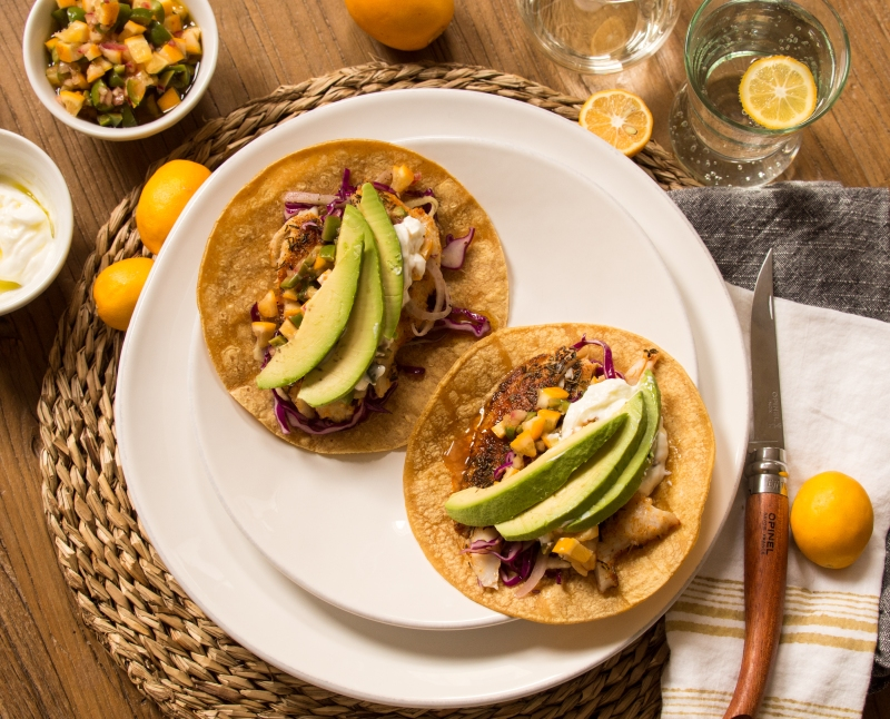 Fish Tacos with Meyer Lemon Salsa