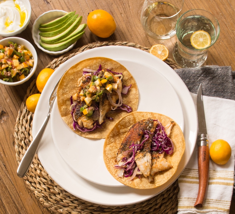 Fish Tacos with Meyer Lemon and Olive Salsa