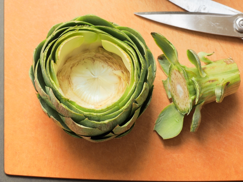 Trimmed Artichoke with More of the Heart Showing